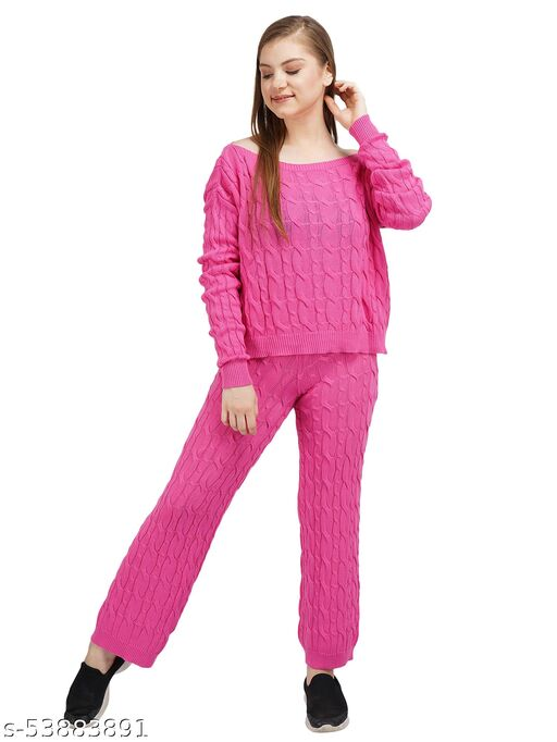 Knotty Women'S Pure Cotton Pink Boat Neck Full Sleeve Solid Sweater Top & Pant (2 Pcs Set) Tracksuit For Winter