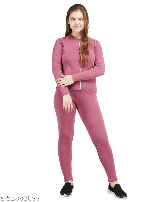 Knotty Women'S Pure Cotton Mesa Rose Na Full Sleeve Solid Sweater Top, Pant & Inner (3 Pcs Set) Tracksuit For Winter