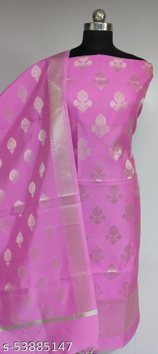 (K3Pink) StyLish Partywear Banarsi Silver Zari Woven Silk Suit And Dress Material
