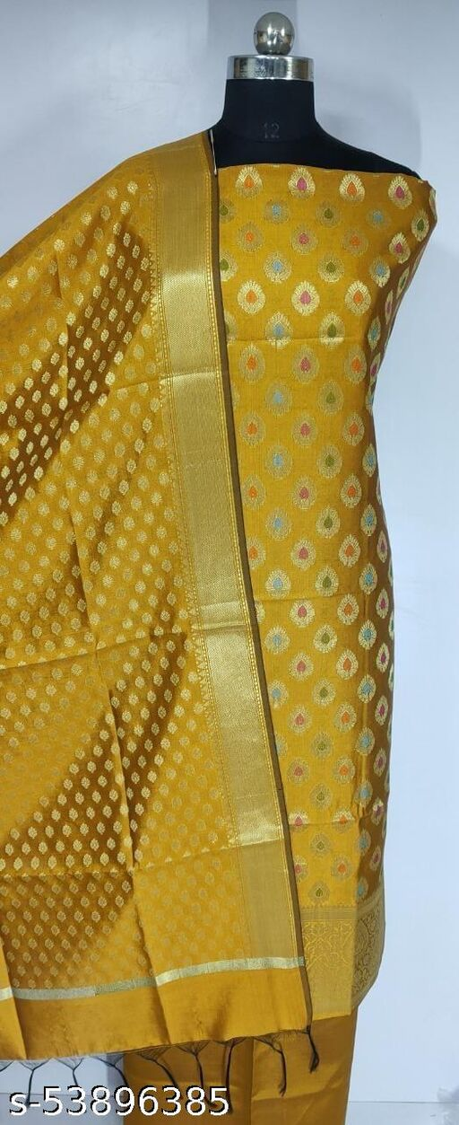 (K4Mustard) Fabulous Banarsi Multi Mina Silk Suit And Dress Material