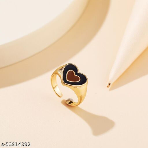 Arzonai Double Heart Coloured Rings for Girls
