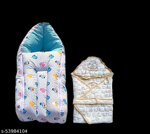 Swito Mart Infant Baby Cotton Hooded  Wrapper Blanket Floral Cartoon Print and Baby Sleeping Bag cum Carry Bag for 0-12 Months Babies | PACK OF 2 (Blue-Gold Color) 0036