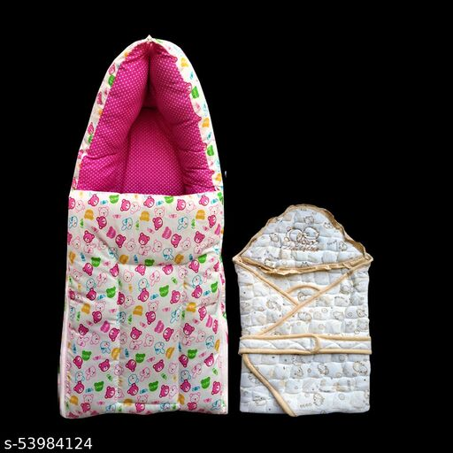 Swito Mart Infant Baby Cotton Hooded  Wrapper Blanket Floral Cartoon Print and Baby Sleeping Bag cum Carry Bag  for 0-12 Months Babies | PACK OF 2 (Pink-Gold Color) 0045