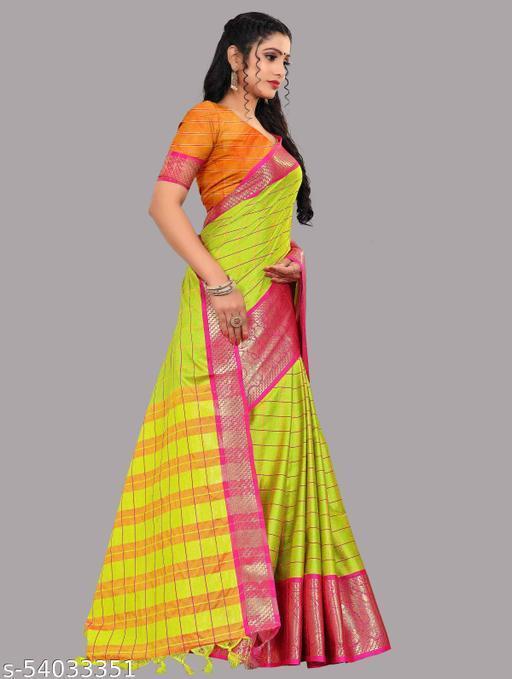 Mizzific Aura checks cotton saree with running blouse