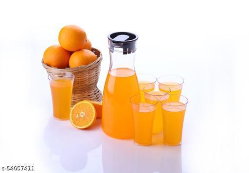 Alasca Kitchenware Plastic Drinkware Combo Set - Transparent Unbreakable Water Juice Jug and 6 pcs Glass