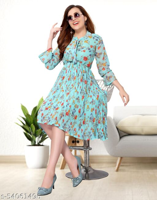 Chiffon Printed Aqua Blue Western Dress