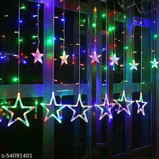 ALILA Star LED Net Mesh Curtain Fairy String Curtain Light Lighting for Diwali Home Garden Tree Decoration Waterproof, 2x1 Meter, Multicolour