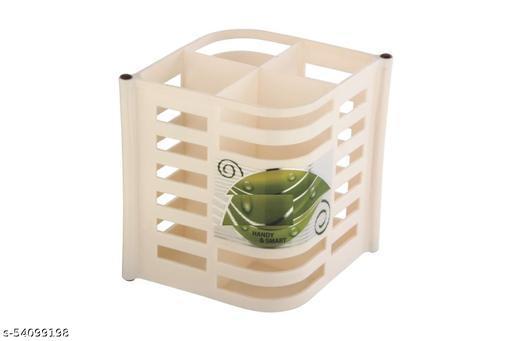 Aarohi13 Plastic Cutlery Stand Set Cream