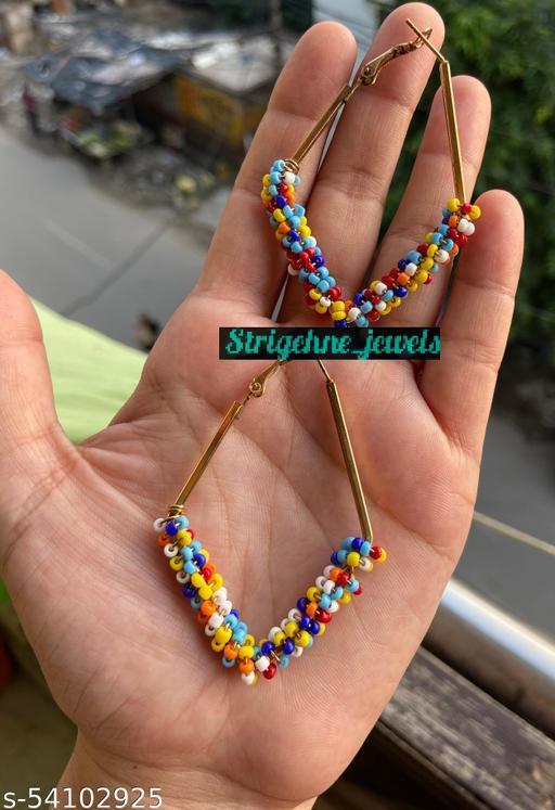 Strigehne DIamond Shape Multicolour Beads Hoop Earrings
