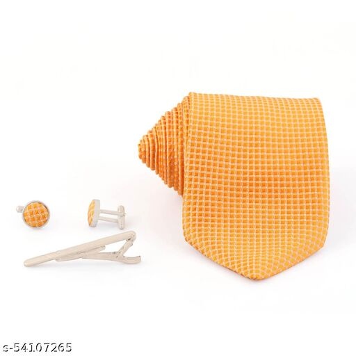 Necktie Yellow Formal casual Jacquard Cufflinks Tie Pin Pocket Square Combo Set For Men's Formal Premium Set
