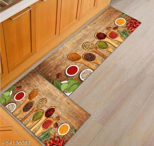 KUNJ COLLECTION  Digital Printed Anti Slip Rubber Door Mat Combo for Your Kitchen (18x55 in) & (17x26 in)Kitchen Mat