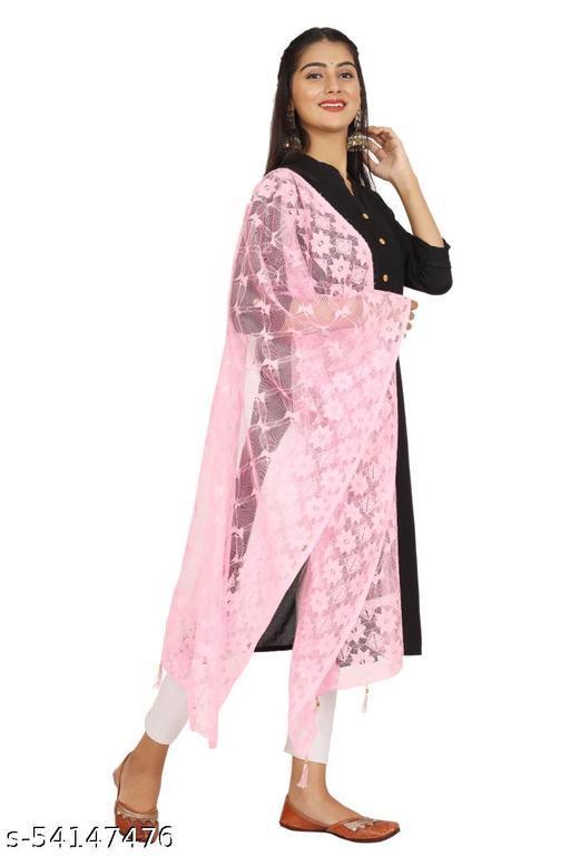 Light pink Self Net Dupatta