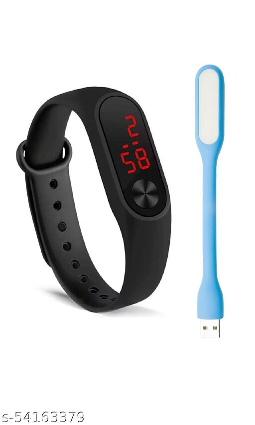 Digital watch with free USB light