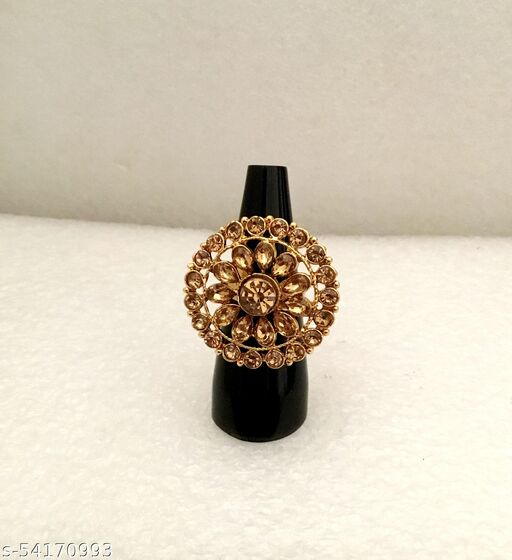Indian CZ Pretty Gold Tone Ring Adjustable Free Size
