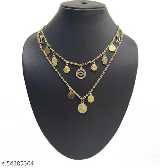 Trendy Multi Layered Chain Necklace Gold Plated Alloy Pendant Style Gold - plated Plated Alloy Necklace