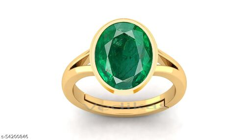 Green Emerald Panna Adjustable Ring Certified for Women's and Men's