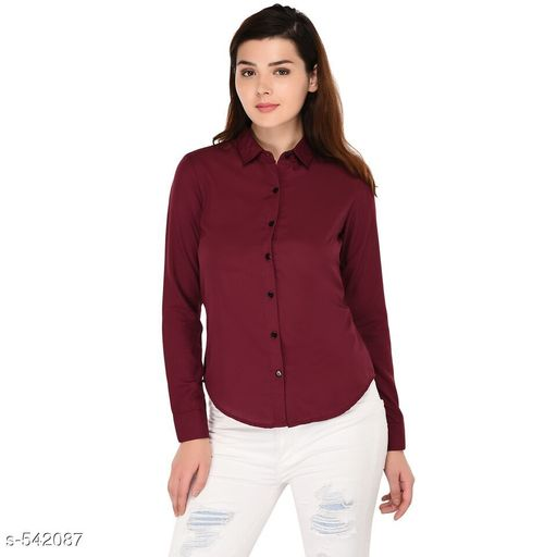 Shirts Trendy Polyester Casual Women's Shirt  *Fabric* Polyester  *Sleeves* Sleeves Are Included  *Size* S - 34 in, M - 36 in, L - 38 in, XL - 40 in Length - Up To 26 in  *Type* Stitched  *Description* It Has 1 Piece Of Women's Shirt  *Pattern* Solid  *Sizes Available* S, M, L, XL *   Catalog Rating: ★4 (410)  Catalog Name: Scarlette Typical Polyester Solid Shirt Vol 1 CatalogID_60191 C79-SC1022 Code: 472-542087-