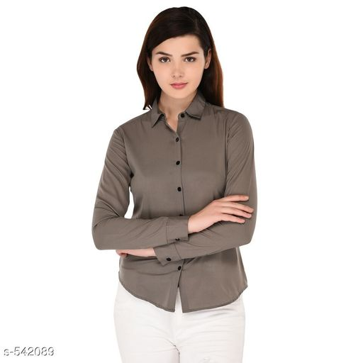 Shirts Trendy Polyester Casual Women's Shirt  *Fabric* Polyester  *Sleeves* Sleeves Are Included  *Size* S - 34 in, M - 36 in, L - 38 in, XL - 40 in Length - Up To 26 in  *Type* Stitched  *Description* It Has 1 Piece Of Women's Shirt  *Pattern* Solid  *Sizes Available* S, M, L, XL *   Catalog Rating: ★4 (417)  Catalog Name: Scarlette Typical Polyester Solid Shirt Vol 1 CatalogID_60191 C79-SC1022 Code: 472-542089-