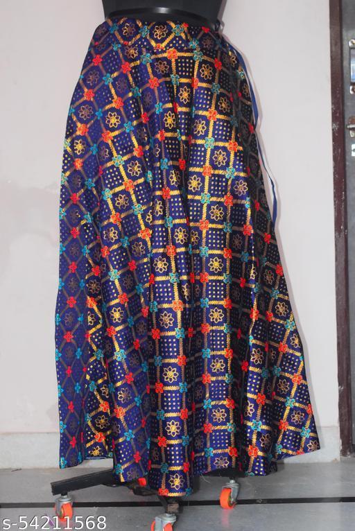 Indian designer Chanderi Silk Floral Design long Flare Skirt  (Free Size)