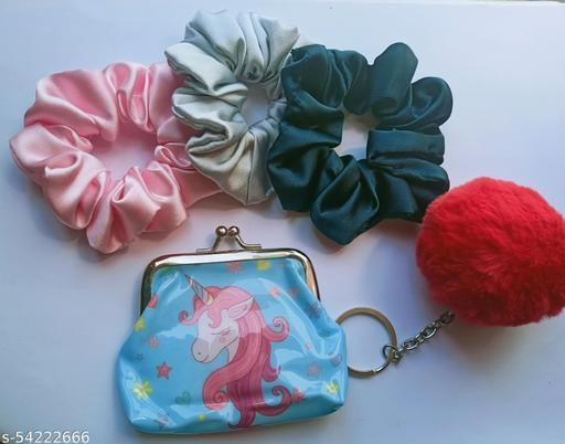 Satin Silk Hair Scrunchies Satin Rubber Band Gift Scrunchies Premium quality scrunchies Scrunchies Unicorn Combo Gift Combo Pom Pom Pouch Zipper Unicorn