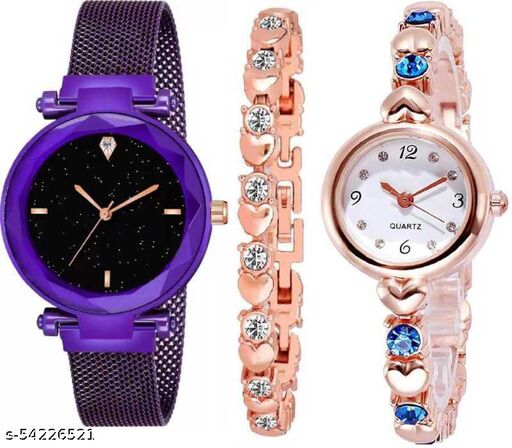 new stylesh watchs/buckle magnet true color/gold brecelet white diamond/rose gold blue diamond watch/best choice for... girls dr5 Analog Watch - For Girls