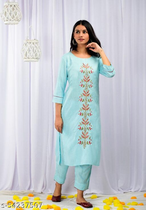 women flower embroidered kurti With Pent