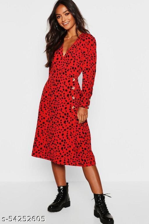 red dalmatian print tortoise shell button midi tea dress