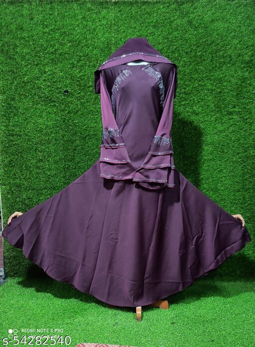 Dua Abaya, Soft Nida Fabric Sleeves, Shoulder Diamond work Design with Hijab.