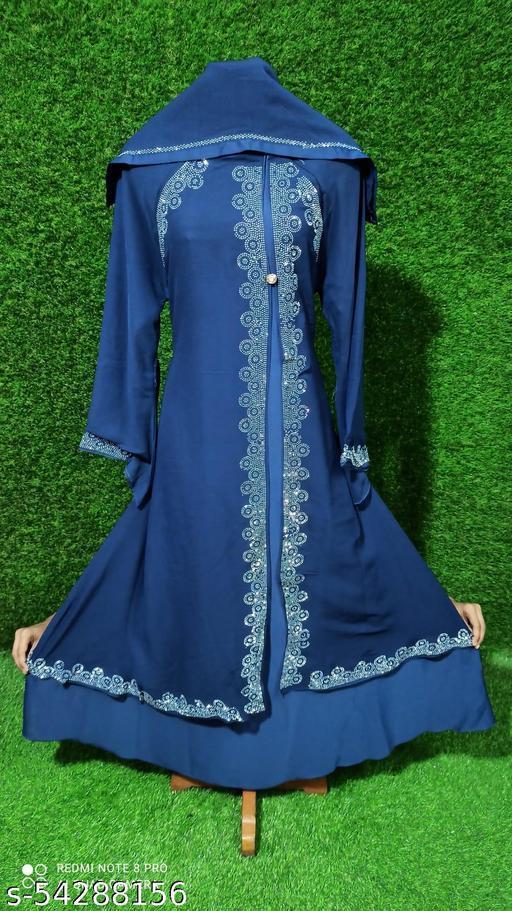 Dua Abaya Beautiful Stylish Soft Nida Fabric Jacket Pattern Diamond Work With Hijab