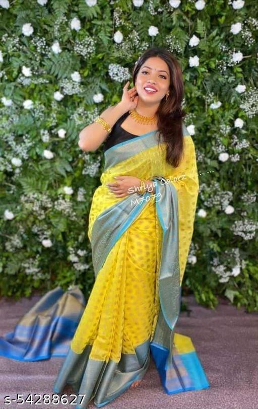Isk Fabrics Women's Banarasi Jacquard Saree With Blouse Piece