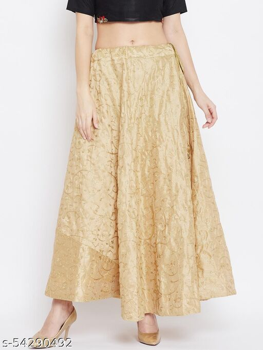 Clora Gold Embroidered Maxi Skirt