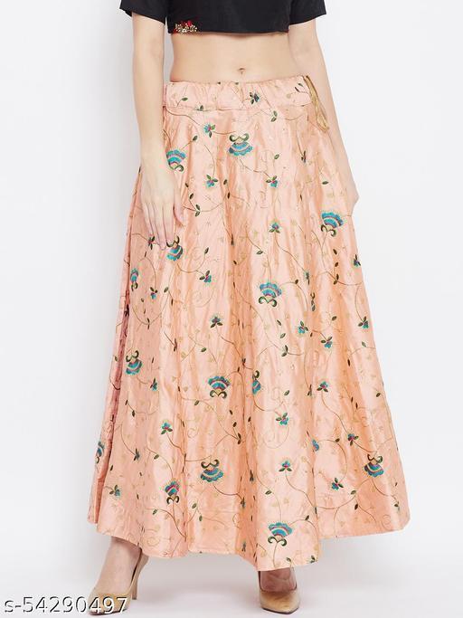 Peach Embroidered Maxi Skirt