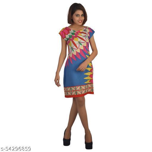 Tauss Women Printed Short Sleeves Boat Neck Above Knees Printed Dress