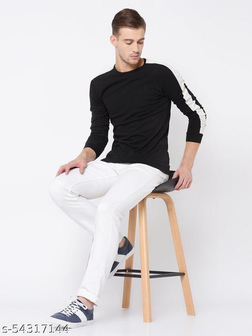 Pagalpan Cut & Sew Full Sleeve T Shirt For Men  Color Black