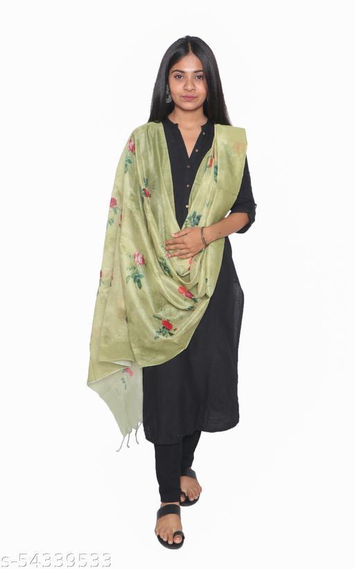 Tikuli Women's Banarasi Chanderi Floral Digital Printed Dupatta
