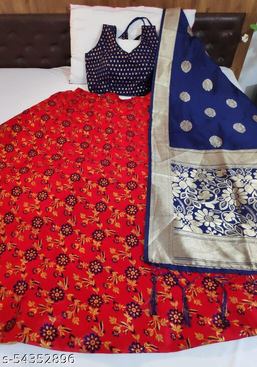 Custom Art Banarasi brocade Lehnga with 4 Mtr Flair and with inner cancan & canvas and ready paded Blouse and Banarasi duppta
