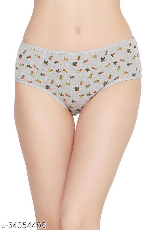 Clovia Mid Waist Cactus Print Teenage Hipster Panty In Melange Grey - Cotton
