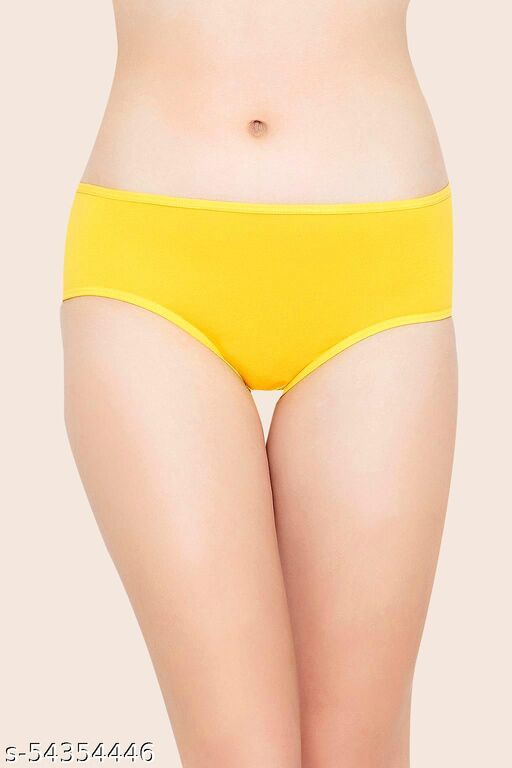 Clovia Mid Waist Hipster Panty with Printed Back in Yellow- Cotton