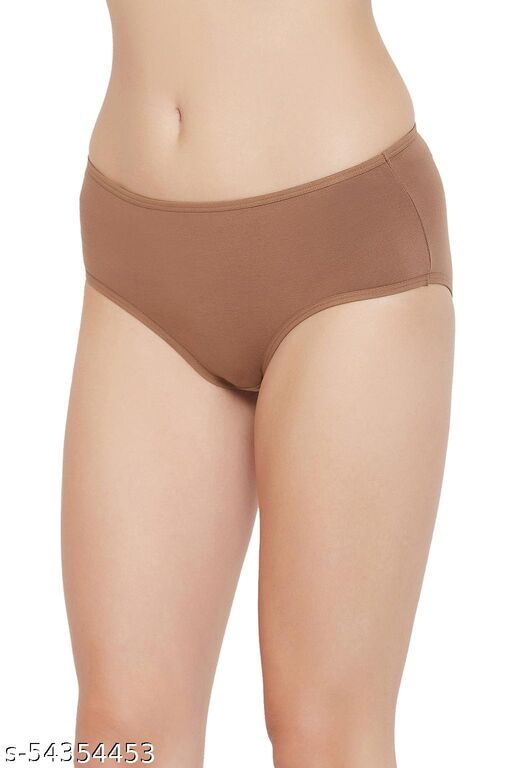 Clovia Mid Waist Hipster Panty with Butterfly Print Back in Brown - Cotton