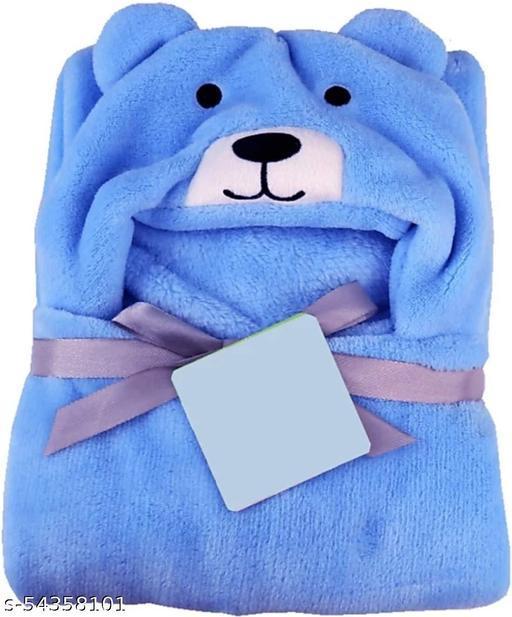 Fleece Single Hooded Wrapper Towel, Blue , 1 Towel