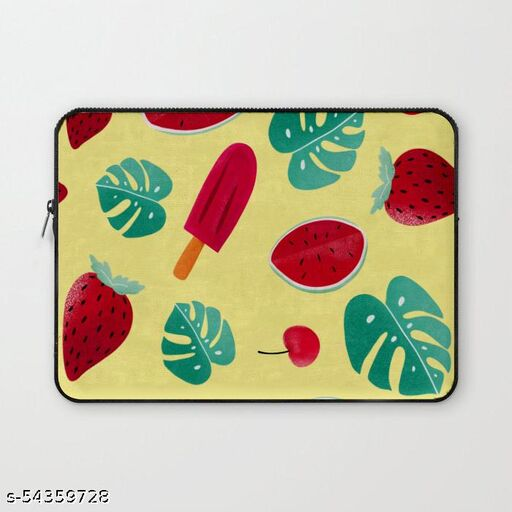 Crazy Corner Strawberry & Ice-cream Printed 15 Inch Laptop Sleeve/Laptop Case Cover with Shockproof & Waterproof Linen On All Inner Sides (Made of Canvas with Ultra HD Print) - Gift for Men/Women