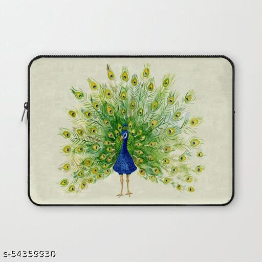 Crazy Corner Dancing Peacock Printed 11 Inch Laptop Sleeve/Laptop Case Cover with Shockproof & Waterproof Linen On All Inner Sides (Made of Canvas with Ultra HD Print) - Gift for Men/Women