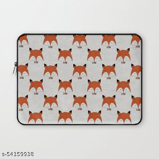 Crazy Corner Cute Fox Printed 15 Inch Laptop Sleeve/Laptop Case Cover with Shockproof & Waterproof Linen On All Inner Sides (Made of Canvas with Ultra HD Print) - Gift for Men/Women