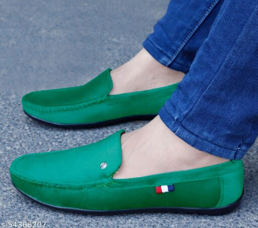 WHITE WALKERES Green Suede Casual Party Loafers for Men & Boys