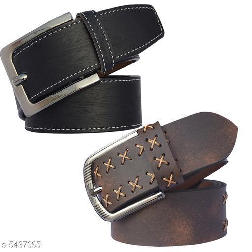Sunshopping Men's Brown Black Color Formal Leatherite Belt