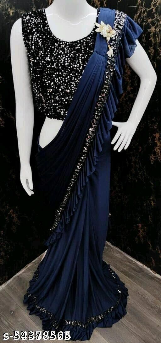 Apparel Fort Women's Ready To Wear Saree With Sequance Blouse Piece