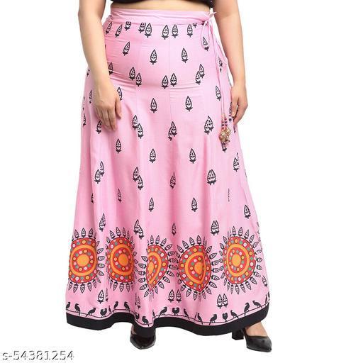 Flambeur Pink Printed Print Rayon Fabric  Skirt For Women