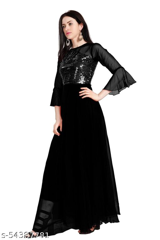 Womens Black Color Satari Gown for Wedding Wear