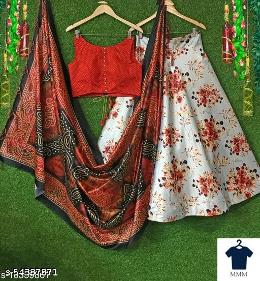 NEW EXCLUSIVE LEHANGA CHOLI HEAVY FLUID SILK WITH CANE AND CANVAS IN SKIT AND BLOUSE WITH HEAVY PRINTED