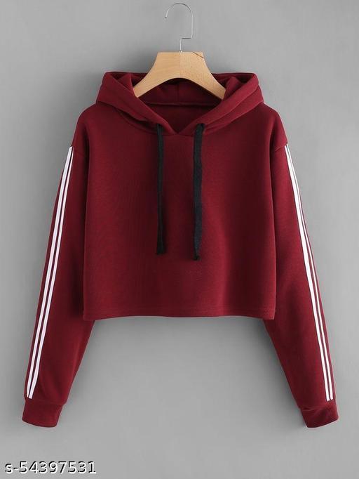Women's Solid Stripe Full Sleeve Sweatshirt
